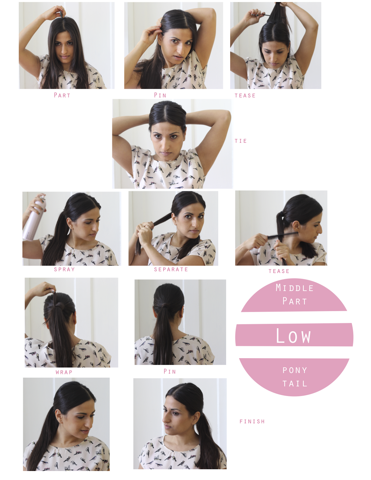 How To Middle Part Low Ponytail Dina S Days