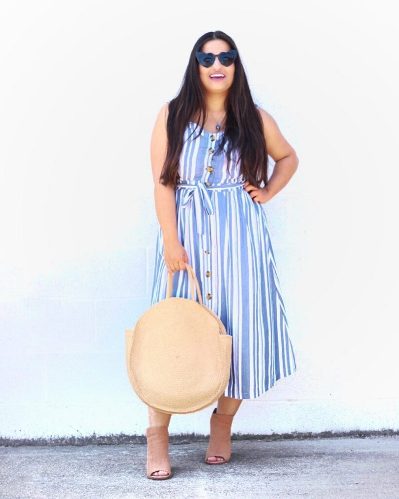 stripe button cotton summer dress