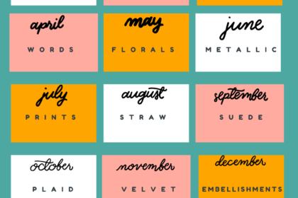 a blue and orange graphic with boxes for each month of the year. Each box lists a shopping prompt